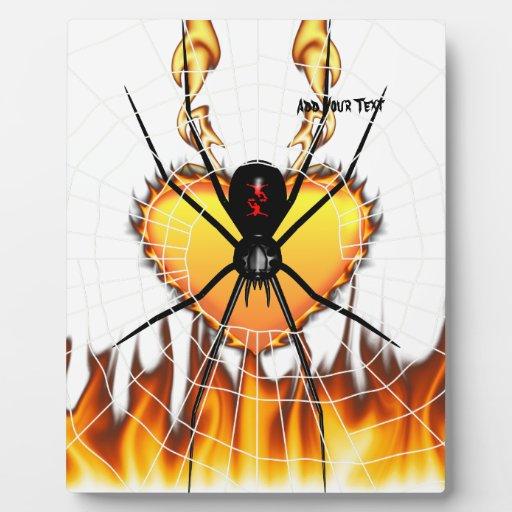 Black Widow on Heart of Fire Display Plaque