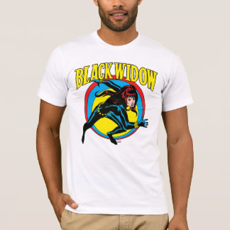 Black Widow Retro Character Art Graphic T-Shirt