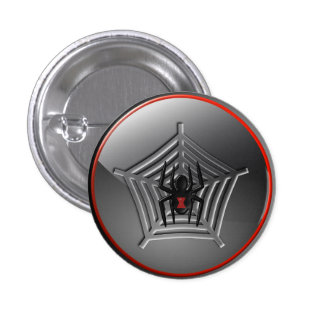 Black Widow Spider on a Web Halloween Badge