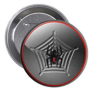 Black Widow Spider on a Web Halloween Badge Buttons