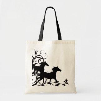 Black Wild Horses Tote Bag