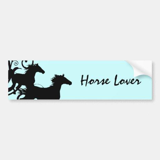 Black Wild Horses Car Bumper Sticker