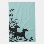 Black Wild Horses Hand Towels