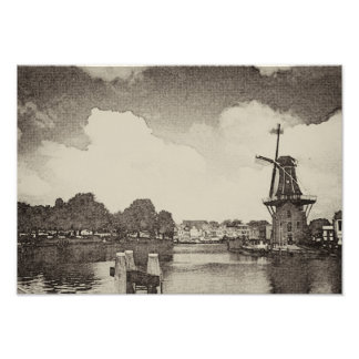 Black Windmill , Haarlem, Netherlands Photo Print