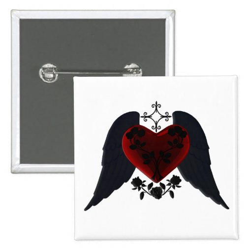 Black Winged Goth Heart Button