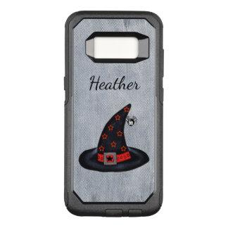 Black Witch Hat Cute Dangling Spider Orange Stars OtterBox Commuter Samsung Galaxy S8 Case