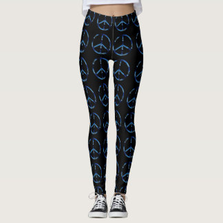 Black With Blue Peace Sign Pattern Custom Leggings