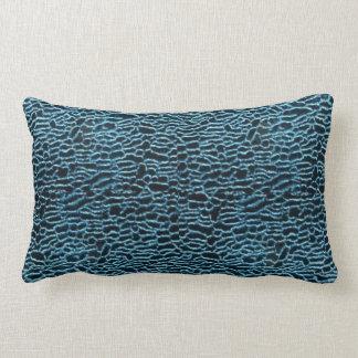 Black with Blue Velvet Pattern Pillow Throw Cushion