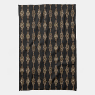 Black with Brown Diamond Stripe Kitchen Tea Towel