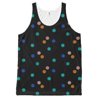 Black with Colorful Polka Dot Pattern All-Over Print Singlet