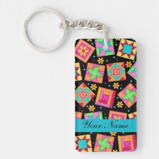 Black with Colorful Quilt Blocks & Personalized Key Ring
