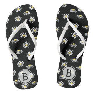 Black With Daisies And Initial Thongs
