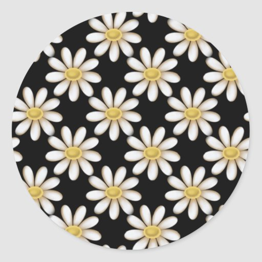 Black with Daisy Flowers Stickers