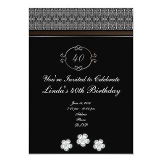"Black with Diamonds Elegant Birthday Invitation 5"" X 7"" Invitation Card"