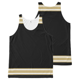 Black with Gold and White Trim All-Over Print Tank Top