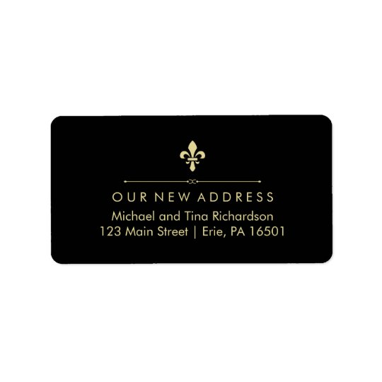 Black with Gold Fleur de Lis New Address Label