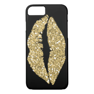 Black with Gold Glam Lips iPhone 7 Case