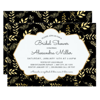 Black with Gold Leaves Bridal Shower Invite