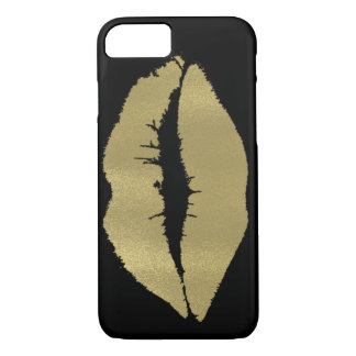 Black with Gold Lips iPhone 7 Case