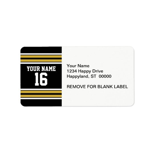 Black with Gold White Stripes Team Jersey Label