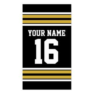 Black with Gold White Stripes Team Jersey Pack Of Standard Business Cards