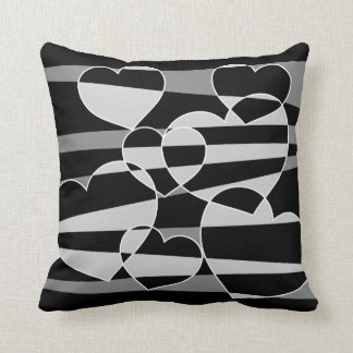 Black with Gray abstract hearts pillow Cushions