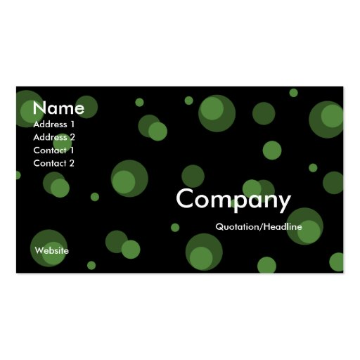 Black with Green Dots Business Card