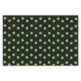 Black with green polka dots tissue paper