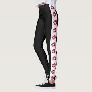 Black with Hot Pink Glitter Lipstick Stripe Leggings