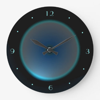 Black with Illuminated Blue/Aqua Face >Wall Clock