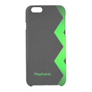 Black with Lime Green Zigzag Custom Name Clear iPhone 6/6S Case