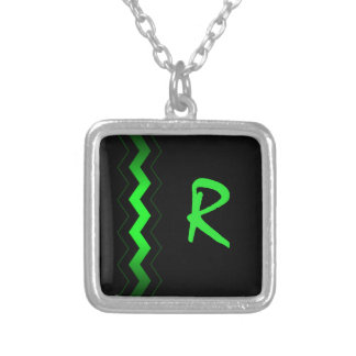 Black with Lime Green Zigzag Custom Silver Plated Necklace