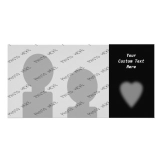 Black with Misty Heart Photo Card Template