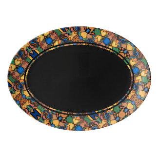 Black With Modern Abstract Pattern Border Porcelain Serving Platter