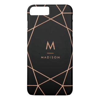 Black with Modern Faux Rose Gold Geometric Pattern iPhone 7 Plus Case