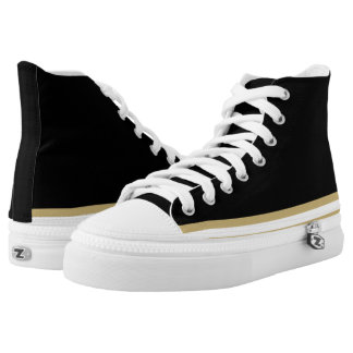 Black with Old Gold and White Trim Hi-Top Printed Shoes