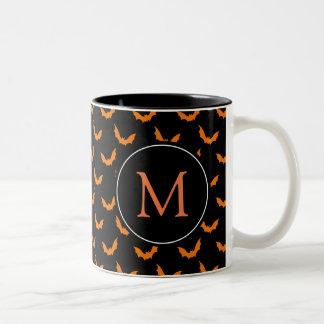 Black with Orange Monogram Halloween Bats Two-Tone Coffee Mug