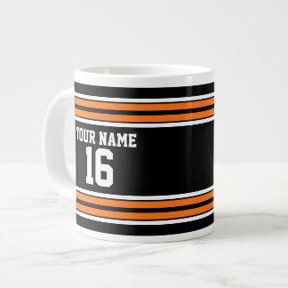 Black with Orange White Stripes Team Jersey Giant Coffee Mug