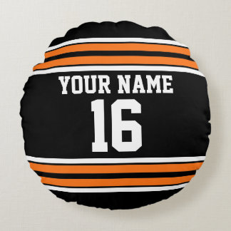 Black with Orange White Stripes Team Jersey Round Cushion