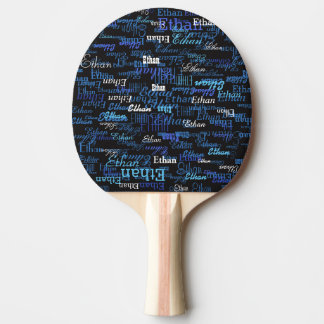 black with pattern of blue player's name ping pong paddle
