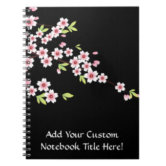 Black with Pink and Green Cherry Blossom Sakura Notebook