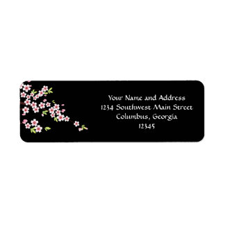 Black with Pink and Green Cherry Blossom Sakura Return Address Label
