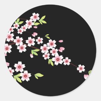 Black with Pink and Green Cherry Blossom Sakura Round Sticker