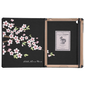 Black with Pink Cherry Blossom iPad Folio Case