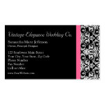 Black with Pink Passion Damask Pack Of Standard Business Cards