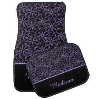 Black with Purple Sketched Daisies Monogram Car Mat