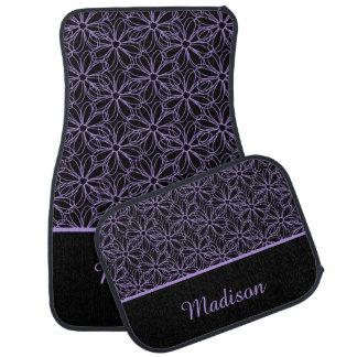 Black with Purple Sketched Daisies Monogram Floor Mat