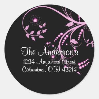 Black with Purple Vine/Leaves Address Labels Round Sticker