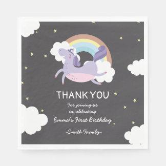 Black with Rainbow Unicorn. Birthday Thank You. Paper Napkin