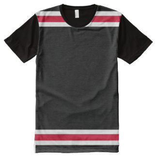 Black with Red and White Trim All-Over Print T-Shirt